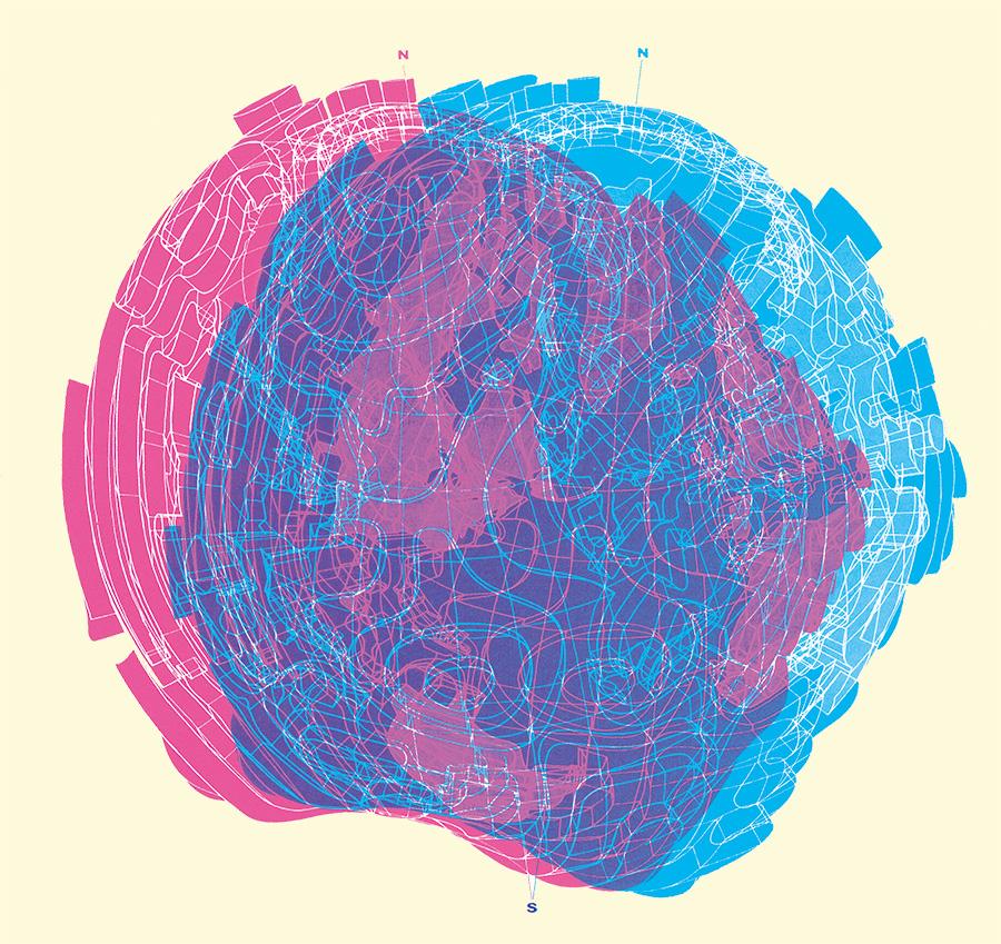 時間軸変形地球儀とそのステレオ作図